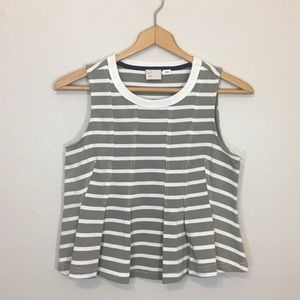 ANTHROPOLOGIE Striped Pleated Cropped Tank Top